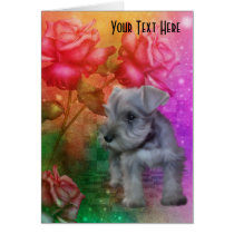 Schnauzer Puppy Roses Dog Art Photo Card