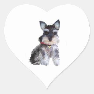Schnauzer Puppy (Z1) Heart Sticker