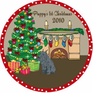 Schnauzer Puppys 1st Christmas Ornament 2010 Photo Cutout