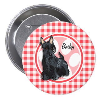Schnauzer; Red and White Gingham Pins