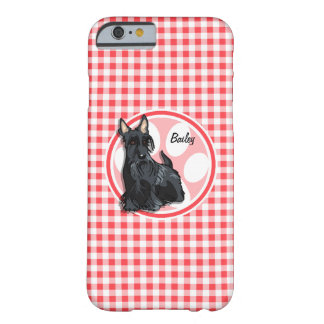 Schnauzer; Red and White Gingham Barely There iPhone 6 Case