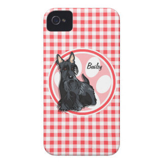 Schnauzer; Red and White Gingham iPhone 4 Covers