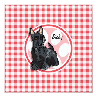"""Schnauzer; Red and White Gingham 5.25"""" Square Invitation Card"""