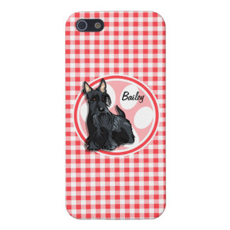 Schnauzer; Red and White Gingham iPhone 5 Covers