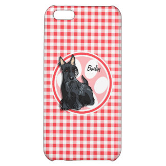 Schnauzer; Red and White Gingham iPhone 5C Cover