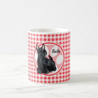 Schnauzer; Red and White Gingham Coffee Mug