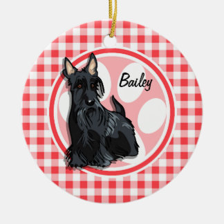 Schnauzer; Red and White Gingham Ornaments