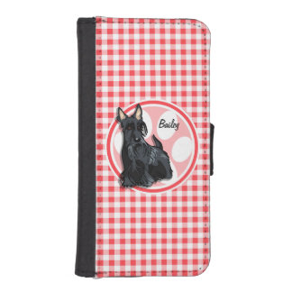 Schnauzer; Red and White Gingham iPhone 5 Wallet