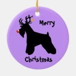 Schnauzer Reindeer Christmas Ceramic Ornament