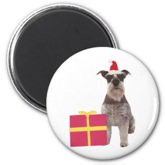 Schnauzer Santa Hat 2 Inch Round Magnet