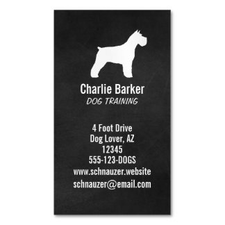 Schnauzer Silhouette Magnetic Business Card