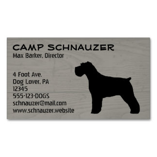 Schnauzer Silhouette (Natural Ears) Business Card Magnet