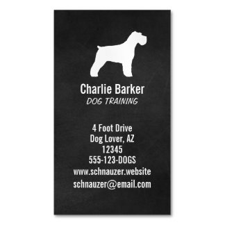 Schnauzer Silhouette (Natural Ears) Magnetic Business Card