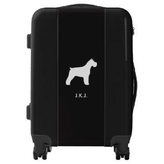 Schnauzer Silhouette with Custom Text Luggage