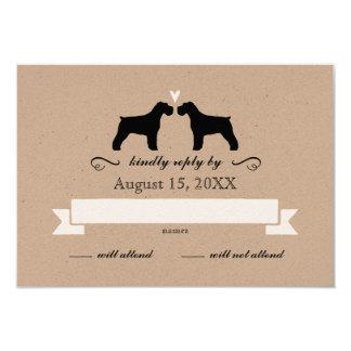 Schnauzer Silhouettes Wedding RSVP Reply Card