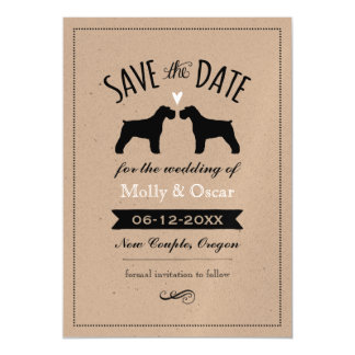 Schnauzer Silhouettes Wedding Save the Date Magnetic Card