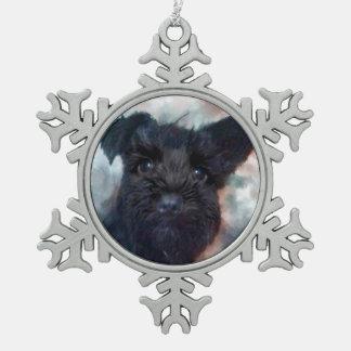 Schnauzer Snowflake Pewter Christmas Ornament