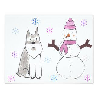 Schnauzer & Snowman Card