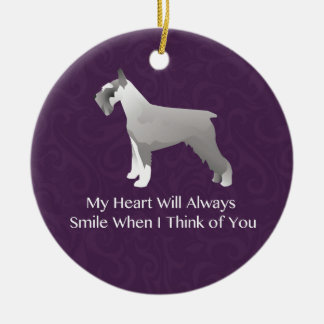 Schnauzer Thinking of You Design Double-Sided Ceramic Round Christmas Ornament