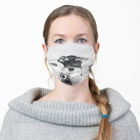 Schnauzer with Camera Adult Cloth Face Mask