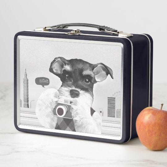 Schnauzer with Camera Metal Lunch Box