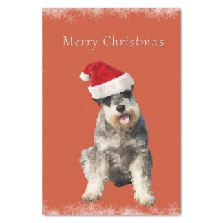"""Schnauzer with Christmas hat 10"""" X 15"""" Tissue Paper"""
