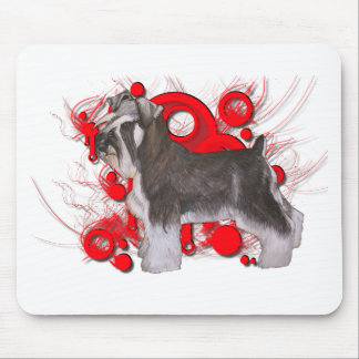 Schnauzer with Red Circles Mouse Pad