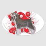 Schnauzer with Red Circles Oval Sticker