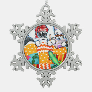 Schnauzers And Snoozes Snowflake Pewter Christmas Ornament