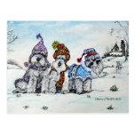 Schnauzers en invierno postales