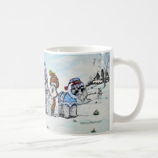 Schnauzers en invierno taza