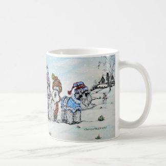 Schnauzers in Winter Classic White Coffee Mug