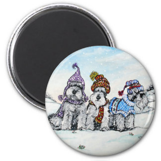 Schnauzers in Winter Magnets