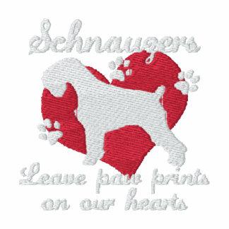 Schnauzers Leave Paw Prints Dark Embroidered Hoodie