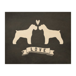 Schnauzers Love - Dog Silhouettes w/ Heart Wood Wall Decor
