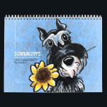 "Schnauzers Off-Leash Art™ Vol 1 Calendar<br><div class=""desc"">Cute wall calendar for your home,  office,  or gift for a dog-loving friend. Features a different original illustration by Andie of Off-Leash Art each month of the favorite Schnauzer dog breed.</div>"