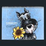 """Schnauzers Off-Leash Art™ Vol 1 Calendar<br><div class=""""desc"""">Cute wall calendar for your home,  office,  or gift for a dog-loving friend. Features a different original illustration by Andie of Off-Leash Art each month of the favorite Schnauzer dog breed.</div>"""