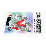 Schnauzers Playing with Santa Stamp