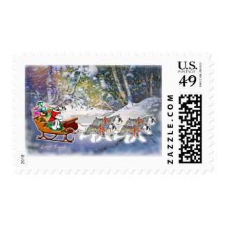 Schnauzers Pulling Sleigh Christmas Postage Stamp