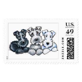 Schnauzers sólidos timbres postales