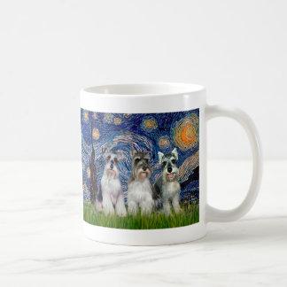 Schnauzers (three) - Starry Night Coffee Mug