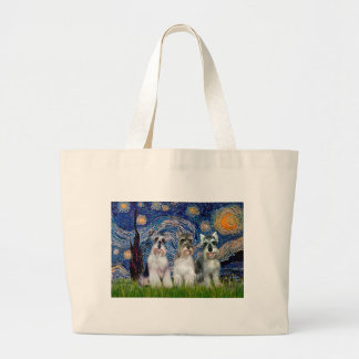 Schnauzers (three) - Starry Night Large Tote Bag