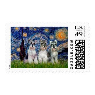 Schnauzers (three) - Starry Night Postage