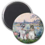 Schnauzers (two) - By the Seine 2 Inch Round Magnet