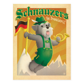 Schnauzers with Trousers Postcard