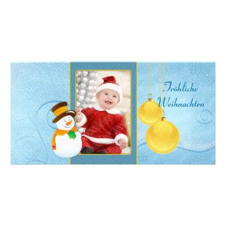 Schneemann und Weihnachtskugeln Card
