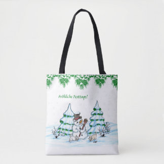 Schneemann with cat and dog puppy tote bag