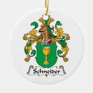 Schneider Family Crest Double-Sided Ceramic Round Christmas Ornament