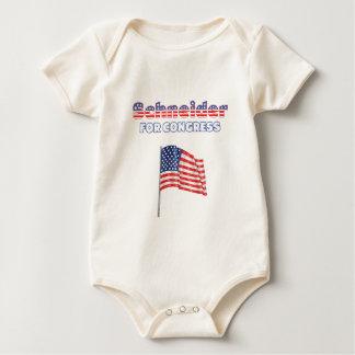 Schneider for Congress Patriotic American Flag Des Baby Bodysuit