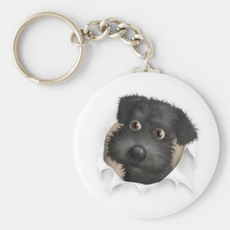 Schnoodle (Black) Busting Out Basic Round Button Keychain